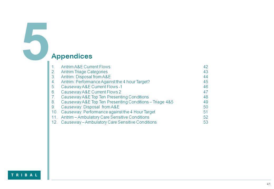 41 5 Appendices 1.Antrim A&E Current Flows42 2.Antrim Triage Categories43 3.Antrim: Disposal from A&E44 4.Antrim: Performance Against the 4 hour Targe