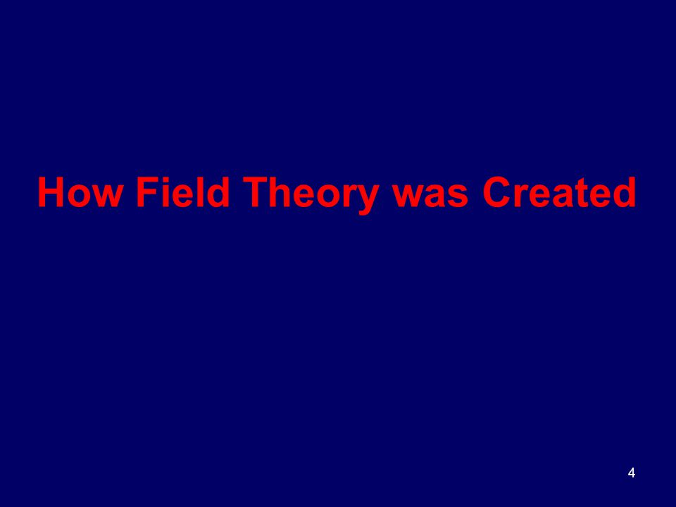 4 How Field Theory was Created