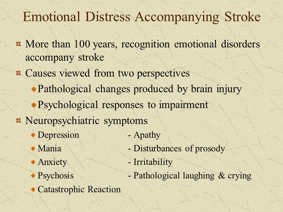 Emotional Distress Accompanying Stroke More than 100 years, recognition emotional disorders accompany stroke Causes viewed from two perspectives Patho