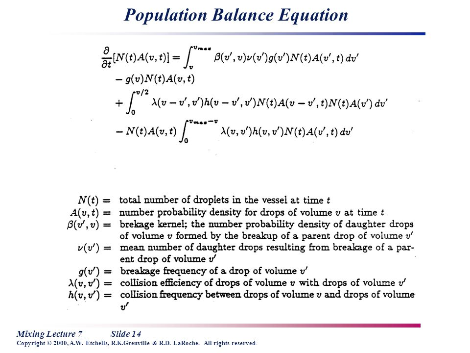 Mixing Lecture 7Slide 14 Copyright © 2000, A.W. Etchells, R.K.Grenville & R.D. LaRoche. All rights reserved. Population Balance Equation