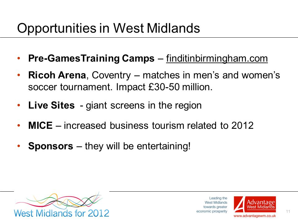 11 Opportunities in West Midlands Pre-GamesTraining Camps – finditinbirmingham.com Ricoh Arena, Coventry – matches in men's and women's soccer tournament.