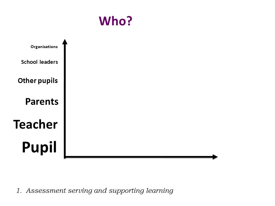 Pupil Teacher Parents Other pupils School leaders Organisations Who.