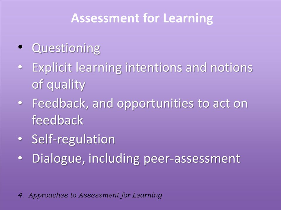 4. Approaches to Assessment for Learning Assessment for Learning Questioning Explicit learning intentions and notions of quality Explicit learning int