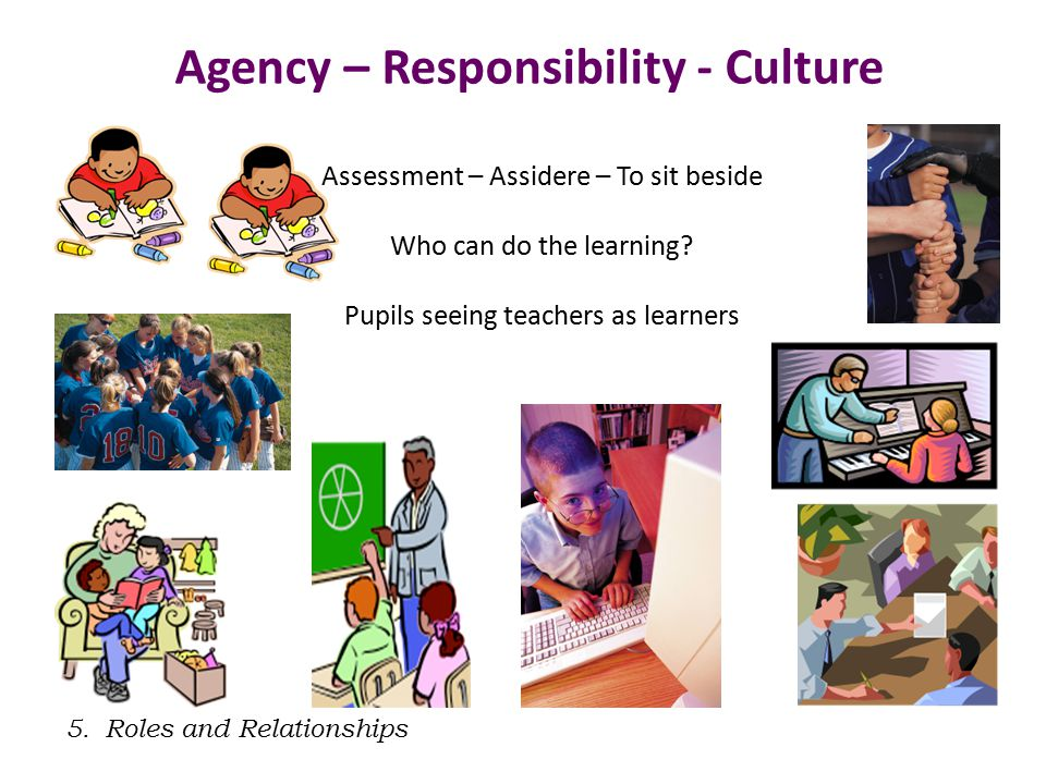 5.Roles and Relationships Agency – Responsibility - Culture Assessment – Assidere – To sit beside Who can do the learning.