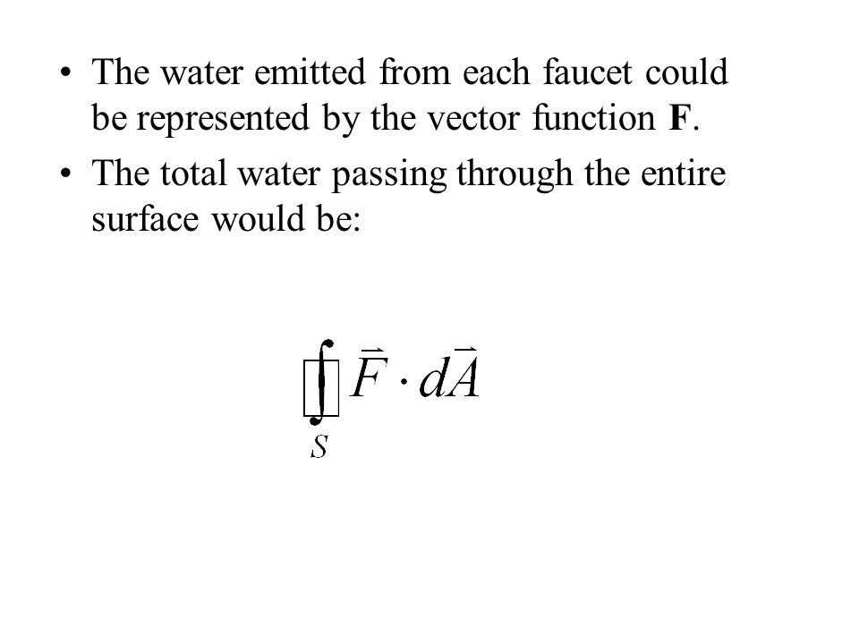 The water emitted from each faucet could be represented by the vector function F.