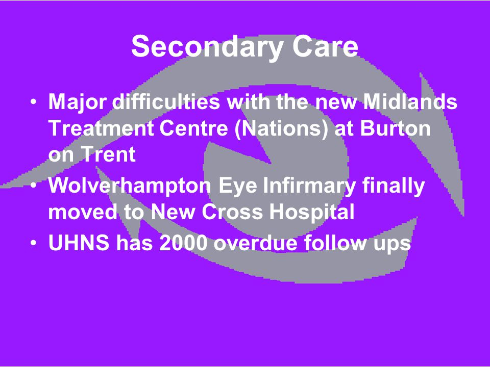 Secondary Care Major difficulties with the new Midlands Treatment Centre (Nations) at Burton on Trent Wolverhampton Eye Infirmary finally moved to New