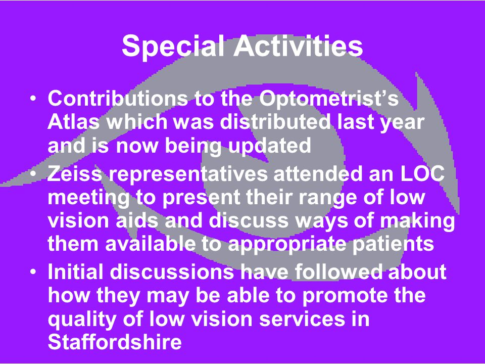 Special Activities Contributions to the Optometrist's Atlas which was distributed last year and is now being updated Zeiss representatives attended an