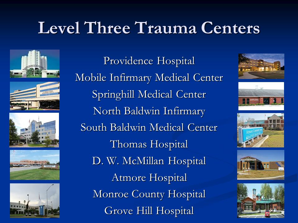 Level Three Trauma Centers Providence Hospital Mobile Infirmary Medical Center Springhill Medical Center North Baldwin Infirmary South Baldwin Medical Center Thomas Hospital D.