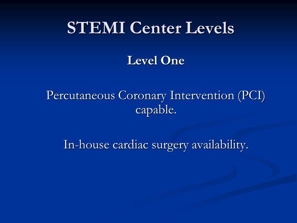 STEMI Center Levels STEMI Center Levels Level One Percutaneous Coronary Intervention (PCI) capable.