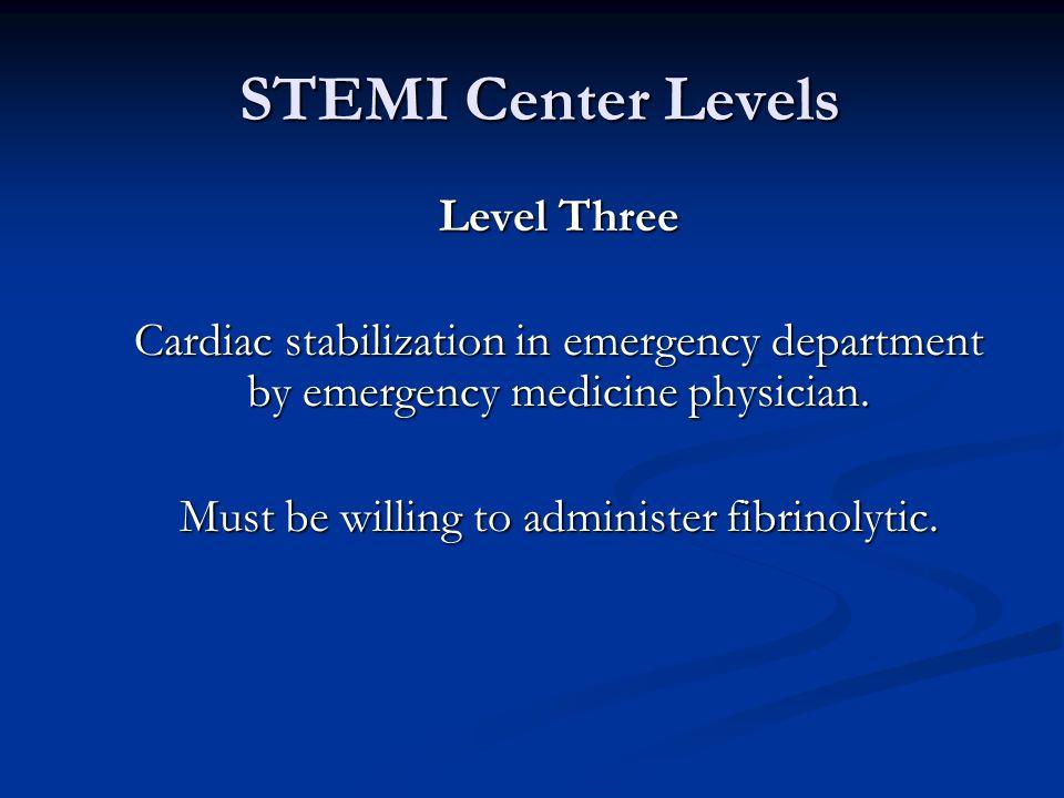 STEMI Center Levels STEMI Center Levels Level Three Cardiac stabilization in emergency department by emergency medicine physician.