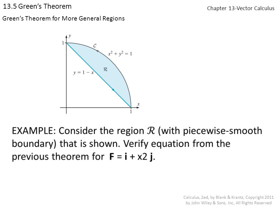 Chapter 13-Vector Calculus 13.5 Green's Theorem Calculus, 2ed, by Blank & Krantz, Copyright 2011 by John Wiley & Sons, Inc, All Rights Reserved Green's Theorem for More General Regions