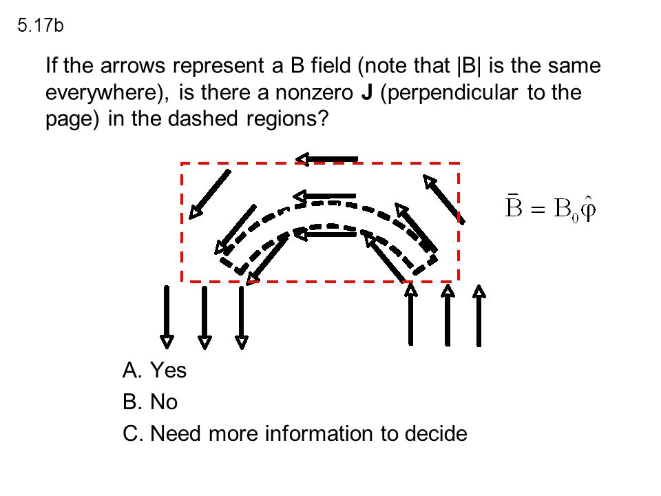 If the arrows represent a B field (note that |B| is the same everywhere), is there a nonzero J (perpendicular to the page) in the dashed regions? A.Ye