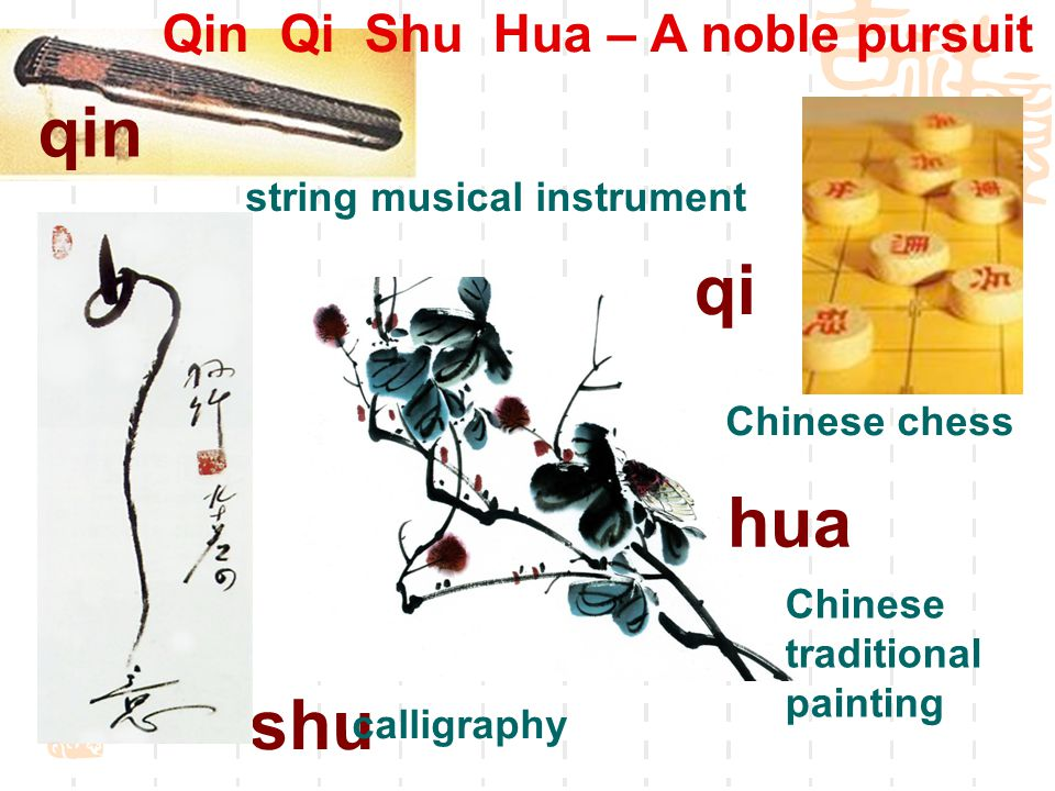 qin qi shu hua string musical instrument Chinese chess calligraphy Chinese traditional painting Qin Qi Shu Hua – A noble pursuit