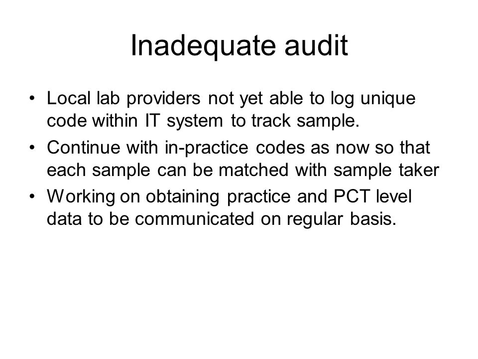 Inadequate audit Local lab providers not yet able to log unique code within IT system to track sample.
