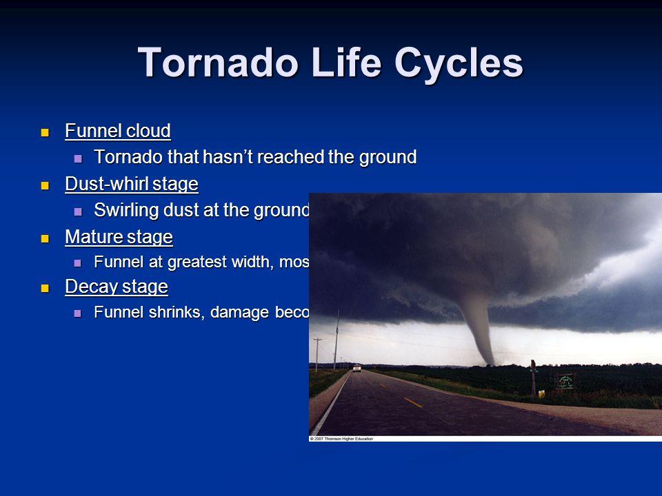 Tornado Life Cycles Funnel cloud Funnel cloud Tornado that hasn't reached the ground Tornado that hasn't reached the ground Dust-whirl stage Dust-whir