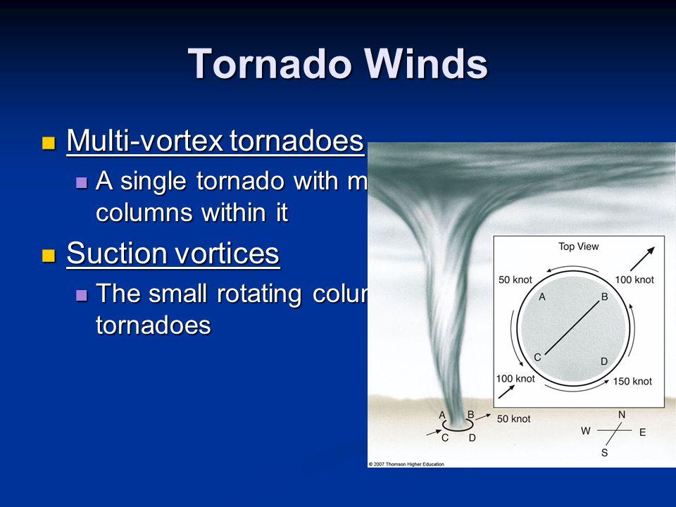 Tornado Winds Multi-vortex tornadoes Multi-vortex tornadoes A single tornado with multiple rotating columns within it A single tornado with multiple r