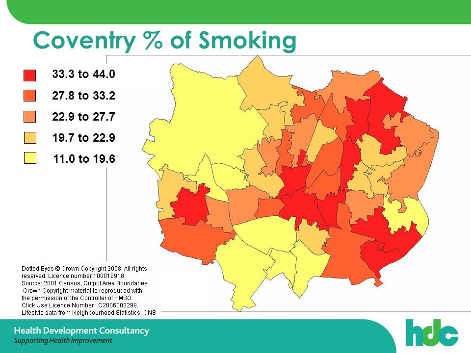Coventry % of Smoking 33.3 to 44.0 27.8 to 33.2 22.9 to 27.7 19.7 to 22.9 11.0 to 19.6
