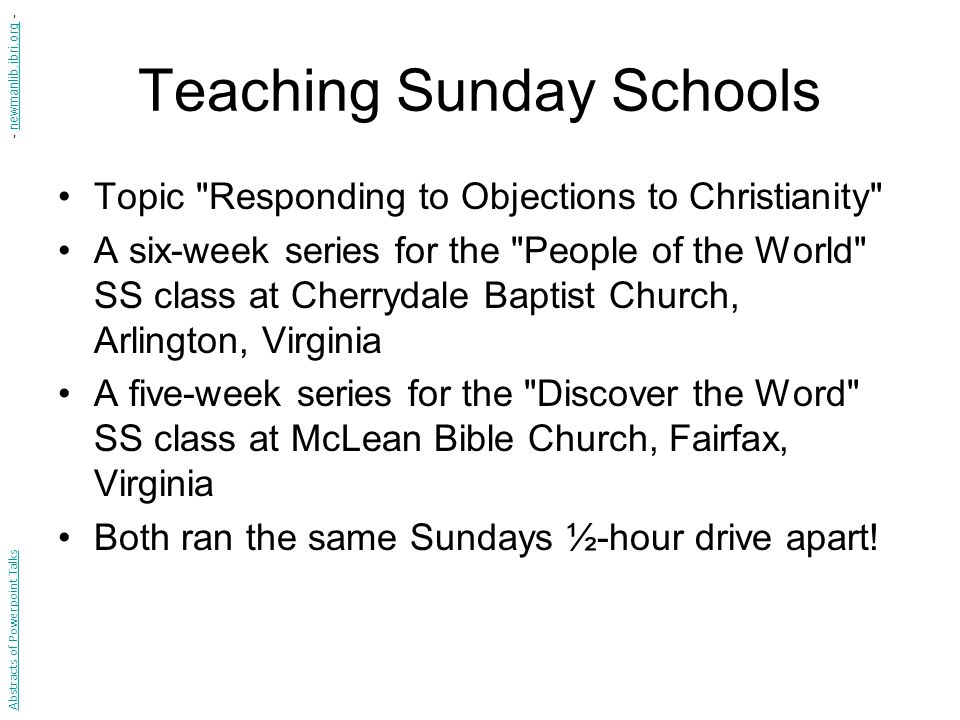 Teaching Sunday Schools Topic