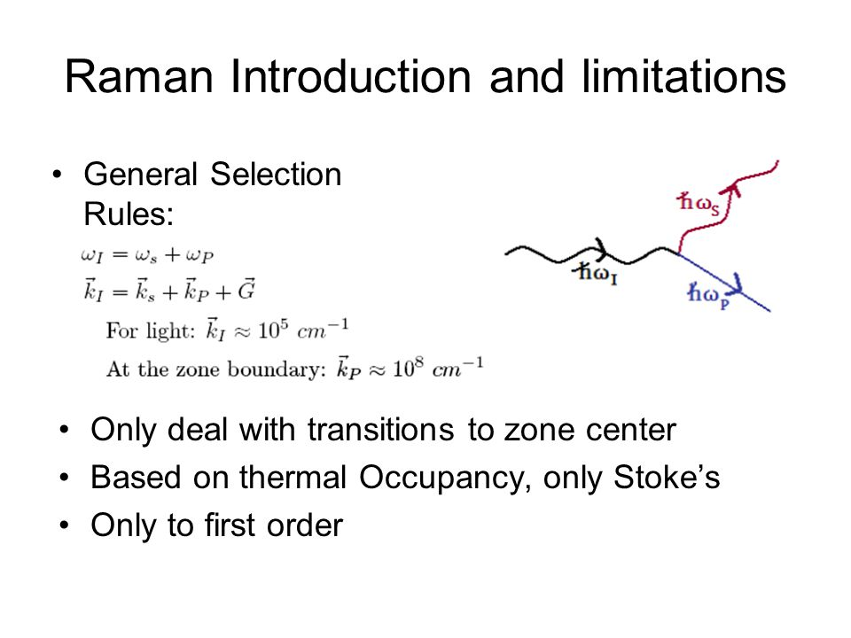 Raman Introduction and limitations General Selection Rules: Only deal with transitions to zone center Based on thermal Occupancy, only Stoke's Only to first order
