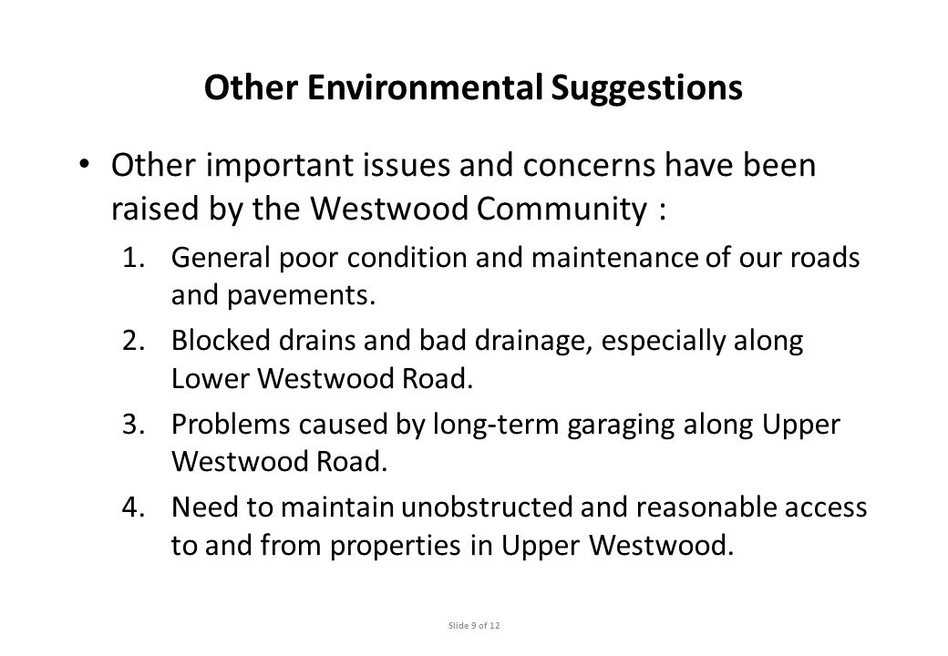 Other Environmental Suggestions Other important issues and concerns have been raised by the Westwood Community : 1.General poor condition and maintenance of our roads and pavements.
