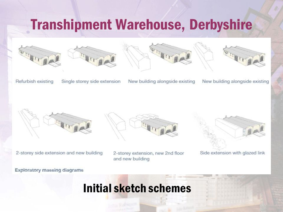 Transhipment Warehouse, Derbyshire Initial sketch schemes