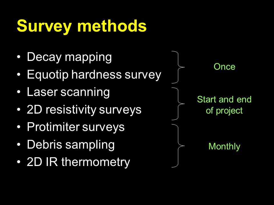 Survey methods Decay mapping Equotip hardness survey Laser scanning 2D resistivity surveys Protimiter surveys Debris sampling 2D IR thermometry Once Start and end of project Monthly