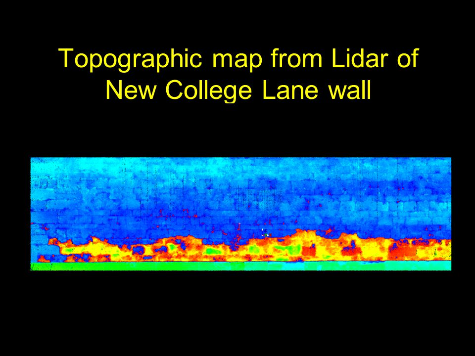 Topographic map from Lidar of New College Lane wall