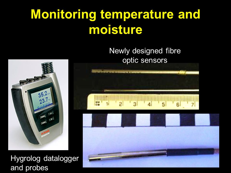 Monitoring temperature and moisture Hygrolog datalogger and probes Newly designed fibre optic sensors