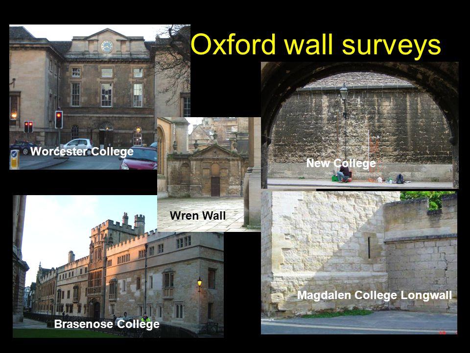 Oxford wall surveys Brasenose College Worcester College Wren Wall New College Magdalen College Longwall