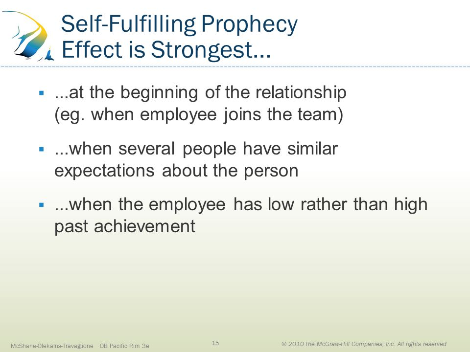 Self-Fulfilling Prophecy Effect is Strongest... ...at the beginning of the relationship (eg.