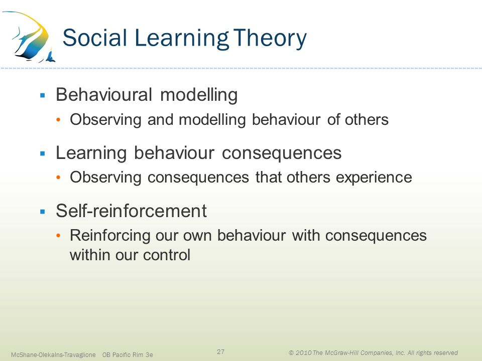 Social Learning Theory  Behavioural modelling Observing and modelling behaviour of others  Learning behaviour consequences Observing consequences that others experience  Self-reinforcement Reinforcing our own behaviour with consequences within our control McShane-Olekalns-Travaglione OB Pacific Rim 3e 27 © 2010 The McGraw-Hill Companies, Inc.
