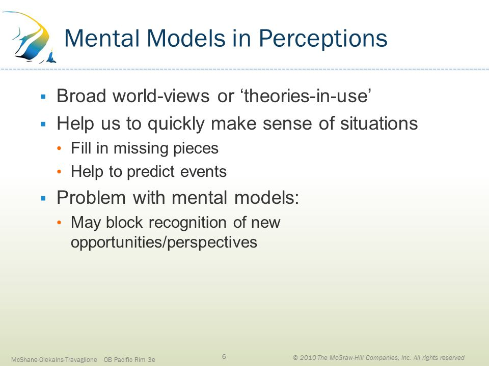 Mental Models in Perceptions  Broad world-views or 'theories-in-use'  Help us to quickly make sense of situations Fill in missing pieces Help to predict events  Problem with mental models: May block recognition of new opportunities/perspectives McShane-Olekalns-Travaglione OB Pacific Rim 3e 6 © 2010 The McGraw-Hill Companies, Inc.