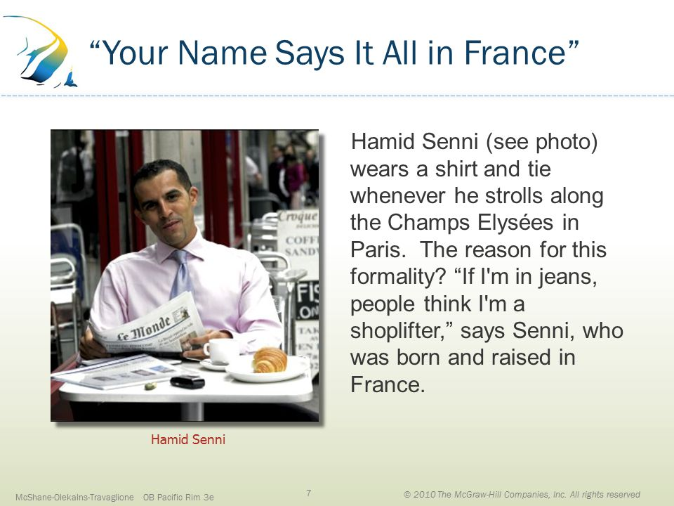 Your Name Says It All in France Hamid Senni (see photo) wears a shirt and tie whenever he strolls along the Champs Elysées in Paris.