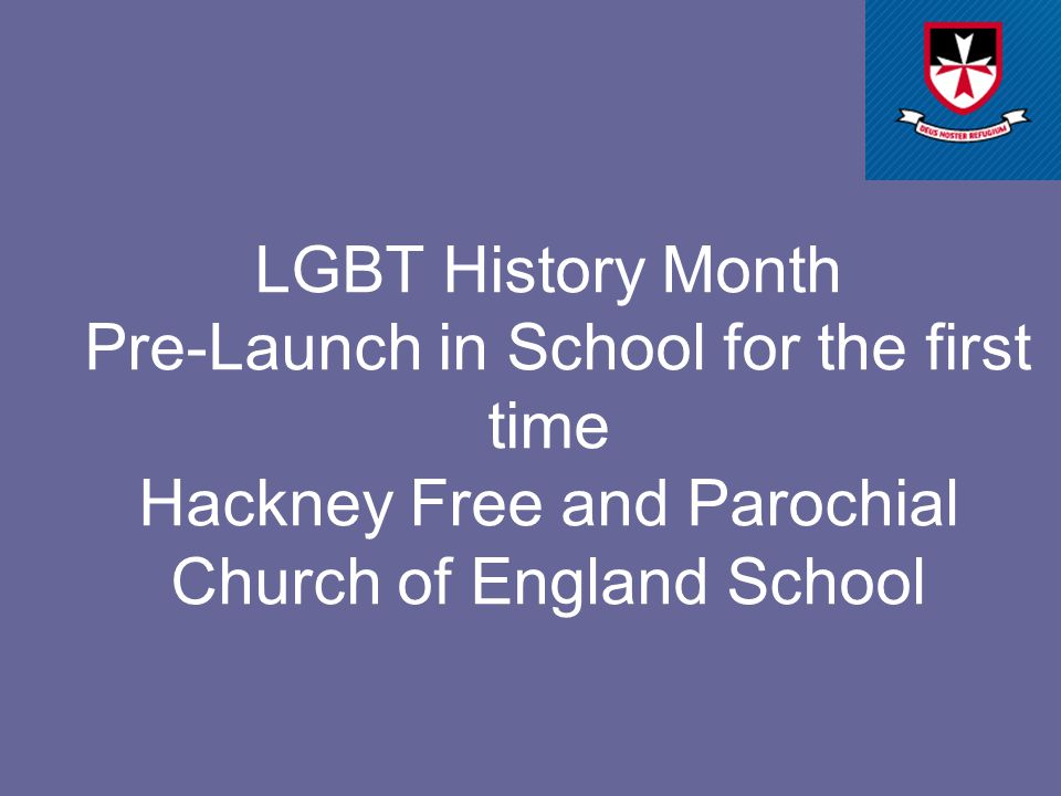 LGBT History Month Pre-Launch in School for the first time Hackney Free and Parochial Church of England School