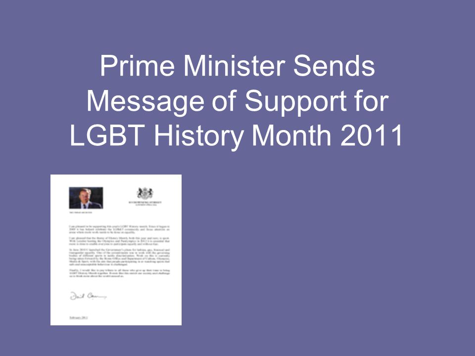 Prime Minister Sends Message of Support for LGBT History Month 2011