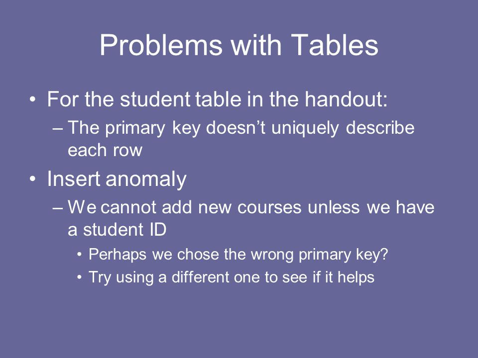 Problems with Tables For the student table in the handout: –The primary key doesn't uniquely describe each row Insert anomaly –We cannot add new courses unless we have a student ID Perhaps we chose the wrong primary key.