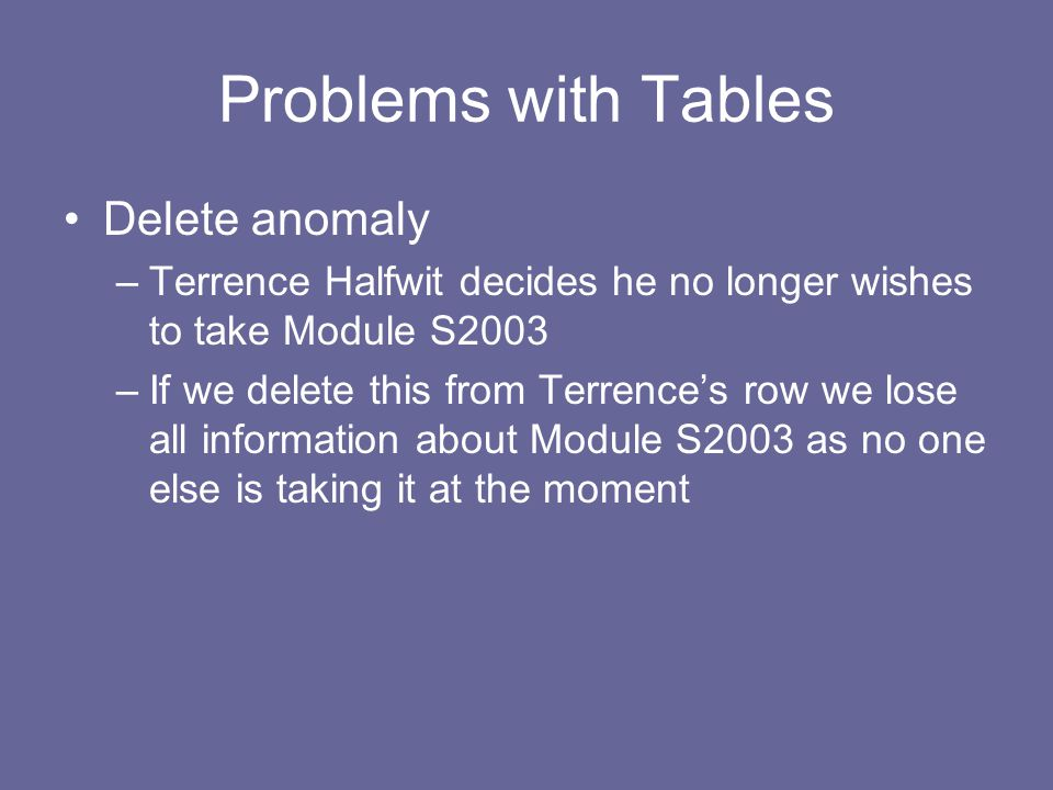 Problems with Tables Delete anomaly –Terrence Halfwit decides he no longer wishes to take Module S2003 –If we delete this from Terrence's row we lose all information about Module S2003 as no one else is taking it at the moment