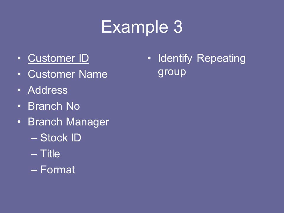 Example 3 Customer ID Customer Name Address Branch No Branch Manager –Stock ID –Title –Format Identify Repeating group