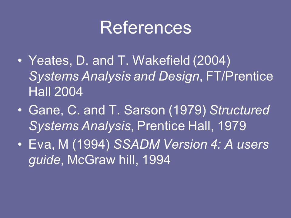 References Yeates, D. and T.