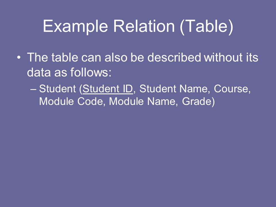 Example Relation (Table) The table can also be described without its data as follows: –Student (Student ID, Student Name, Course, Module Code, Module Name, Grade)
