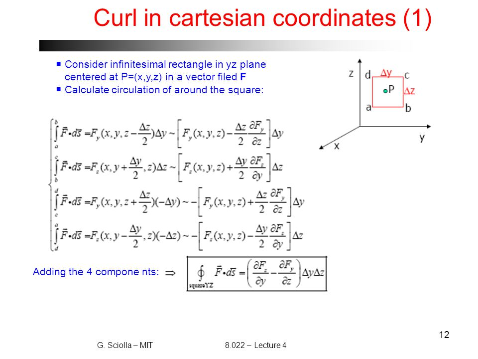 12 Curl in cartesian coordinates (1)  Consider infinitesimal rectangle in yz plane centered at P=(x,y,z) in a vector filed F  Calculate circulation of around the square: G.