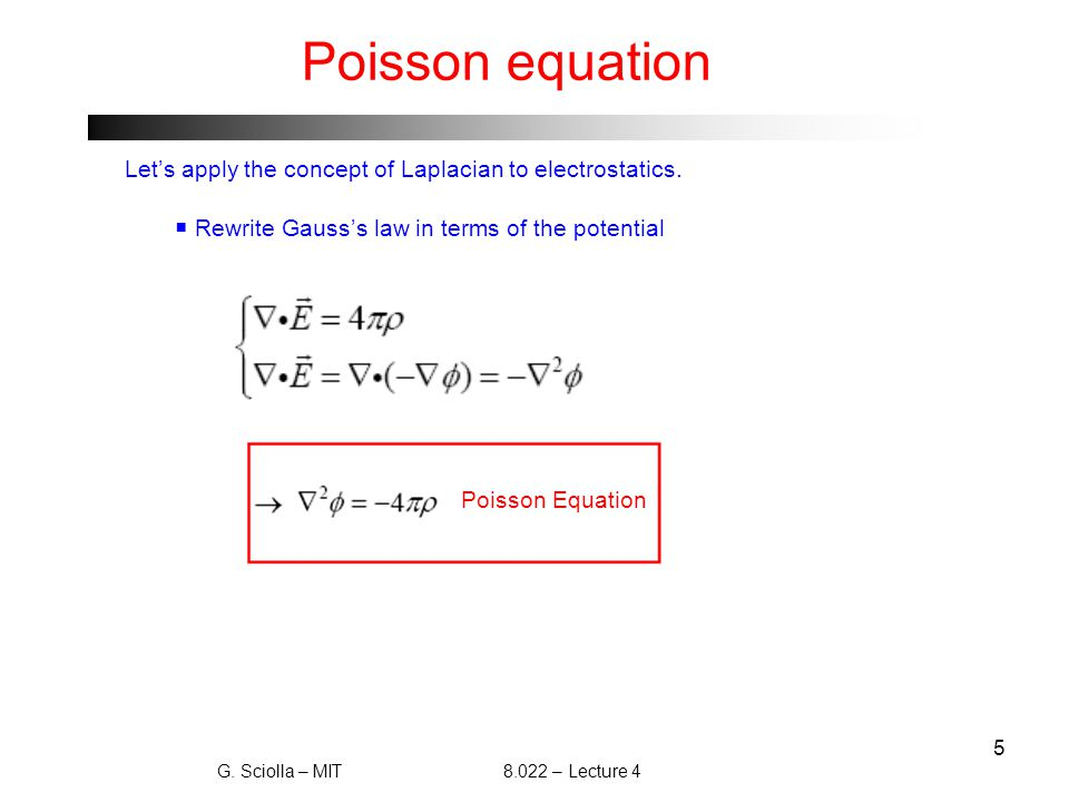 6 Laplace equation and Earnshaw's Theorem  What happens to Poisson's equation in vacuum.