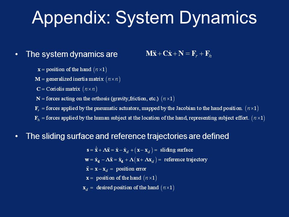 Appendix: System Dynamics The system dynamics are The sliding surface and reference trajectories are defined
