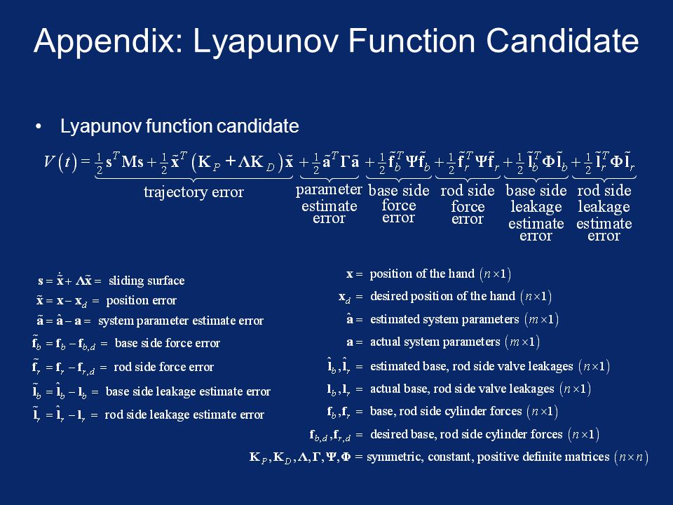 Appendix: Lyapunov Function Candidate Lyapunov function candidate