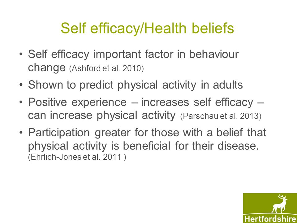 Self efficacy/Health beliefs Self efficacy important factor in behaviour change (Ashford et al.