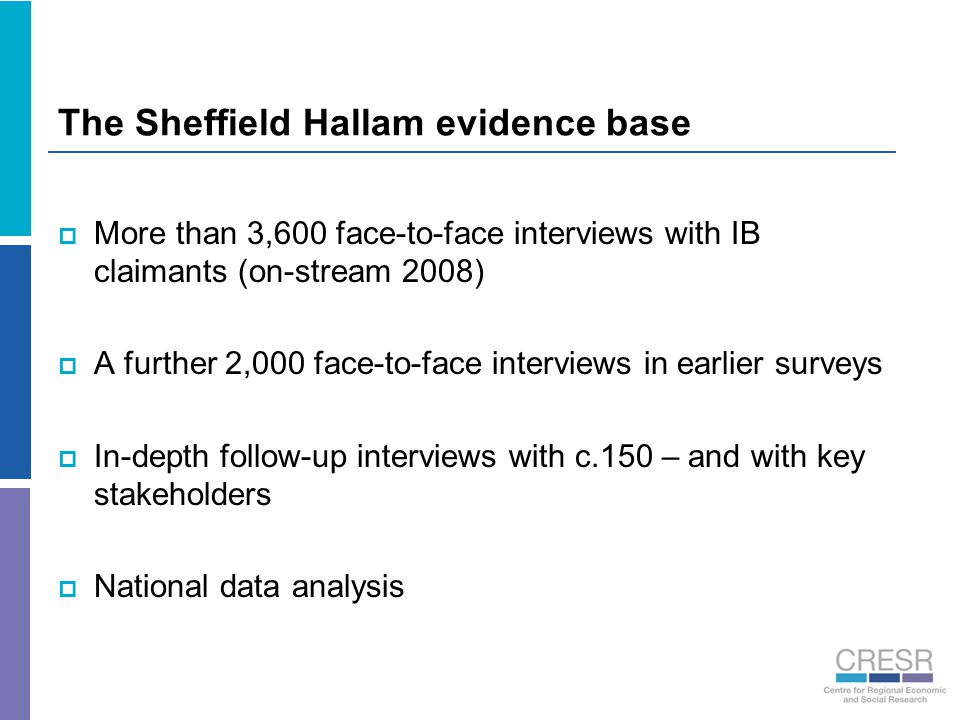 The Sheffield Hallam evidence base  More than 3,600 face-to-face interviews with IB claimants (on-stream 2008)  A further 2,000 face-to-face intervi