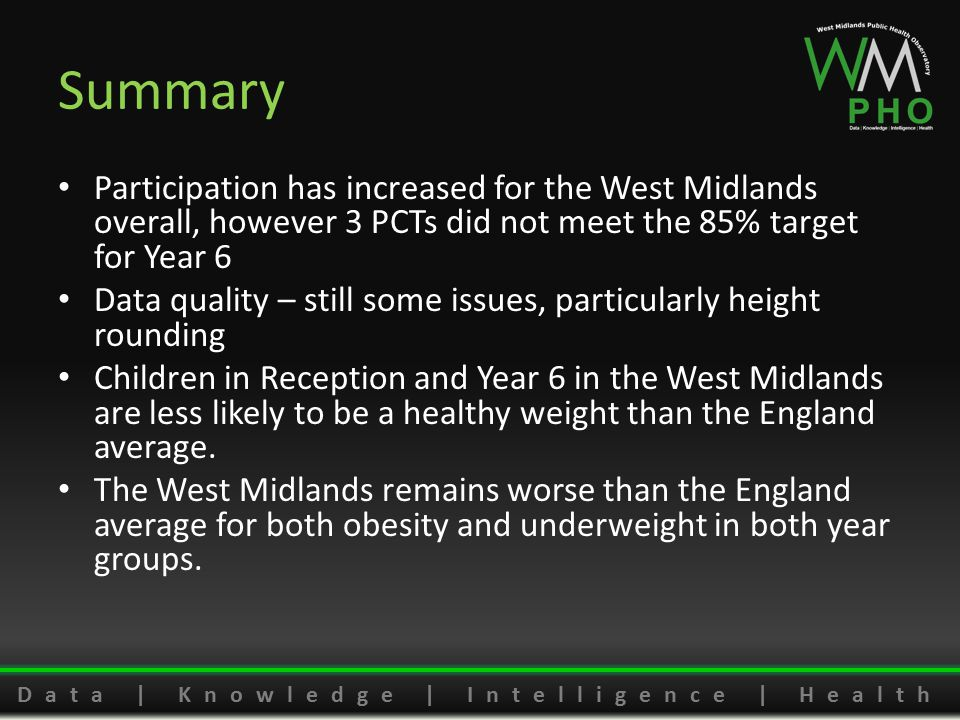 Data | Knowledge | Intelligence | Health Summary Participation has increased for the West Midlands overall, however 3 PCTs did not meet the 85% target