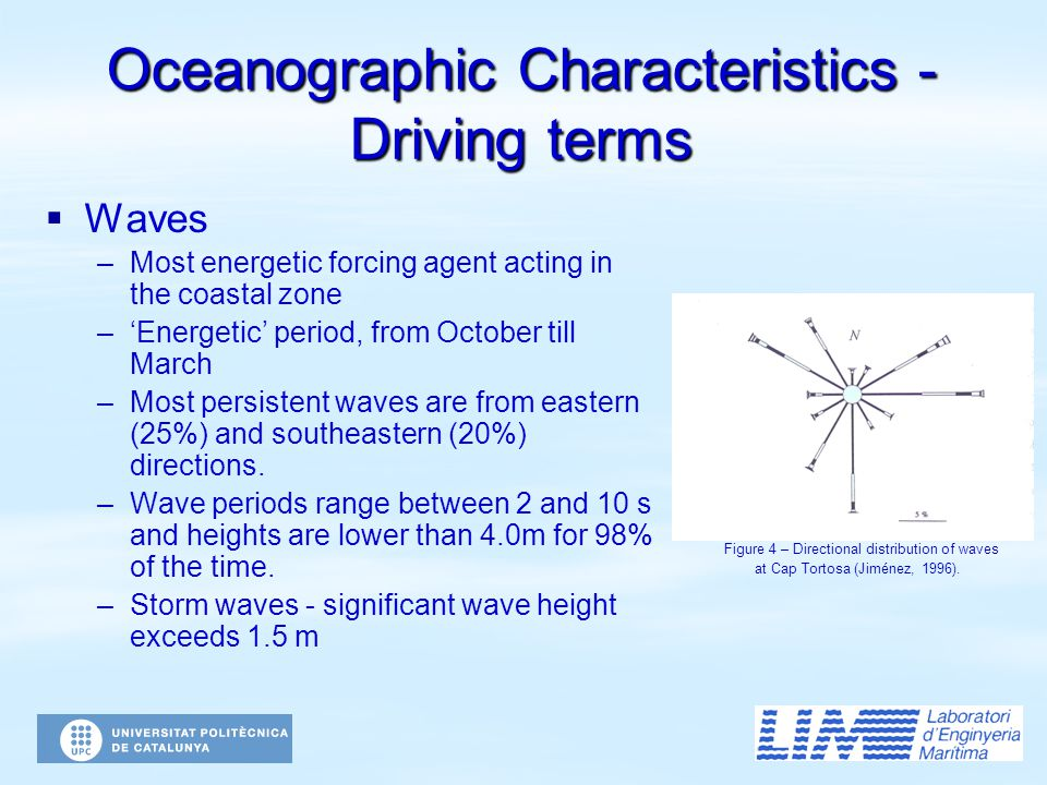 Oceanographic Characteristics - Driving terms   Waves – –Most energetic forcing agent acting in the coastal zone – –'Energetic' period, from October