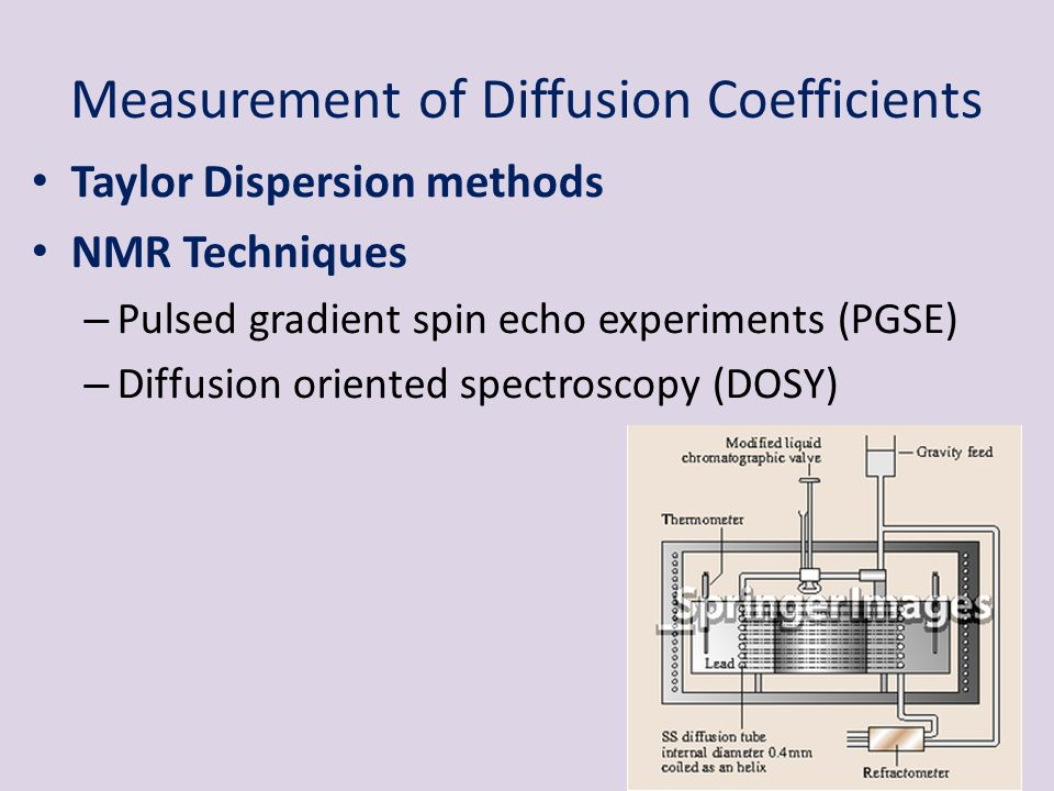 Taylor Dispersion methods NMR Techniques – Pulsed gradient spin echo experiments (PGSE) – Diffusion oriented spectroscopy (DOSY) Measurement of Diffus