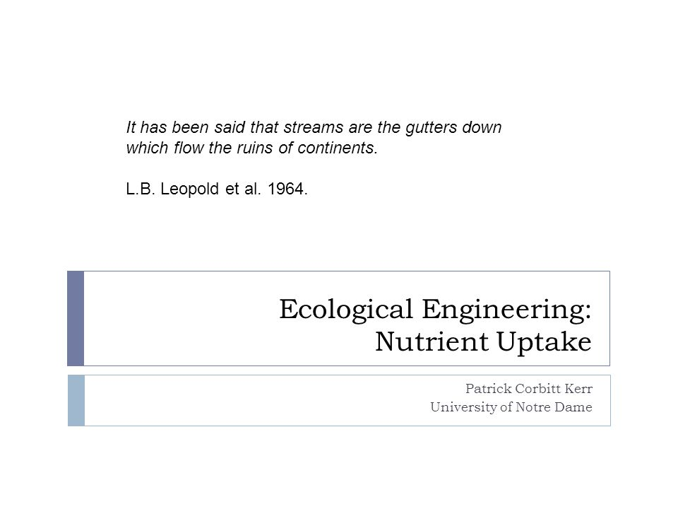 Ecological Engineering: Nutrient Uptake Patrick Corbitt Kerr University of Notre Dame It has been said that streams are the gutters down which flow the ruins of continents.